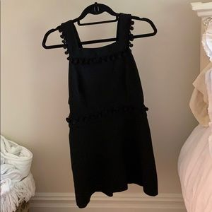 black dress with cute Pom poms
